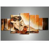 Hand painted 5 Piece Modern Abstract Decorative Oil Paintings On Canvas Wall Art Sexy Naked Lover Nude Pictures For Living Room