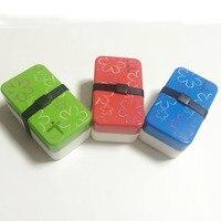 3 cái/lốc Hộp Ăn Trưa Hoa Parttern Mini Hộp Nhựa Hộp Đựng Thức Ăn Màu Xanh Lá Cây Red Blue Màu Hot Popular Mì Ăn Liền Hàn Quốc Hộp