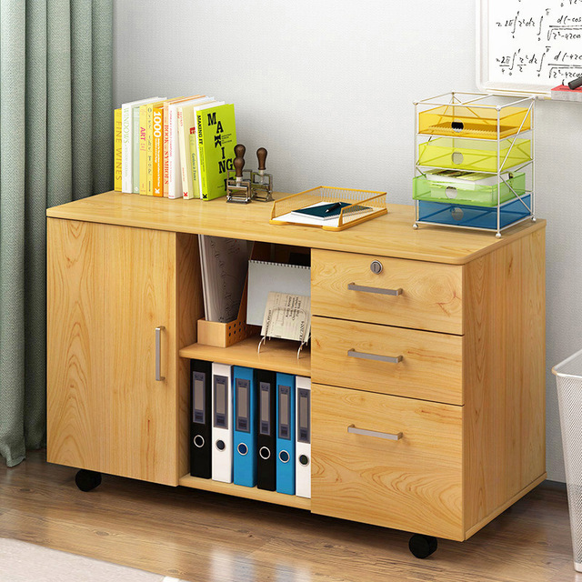Lk1667 Wooden Office Cabinet File Storage With Lock Floor Stand Movable Locker Low Organizer Supplies