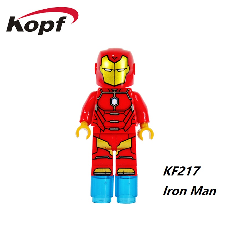 Single Sale Super Heroes Iron Man Captain America Hulk Spiderman Bricks Building Blocks Collection Toys for children KF217 avengers super heroes captain america iron man mark46 hulkbuster legaoes marvel building blocks brick baby toys children gift