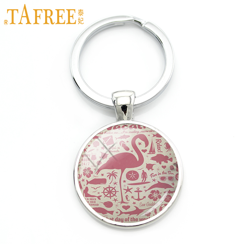 TAFREE cute Flamingo keychain pink bird simple cartoon picture glass beautiful gift send for children 2017 fashion jewelry A581