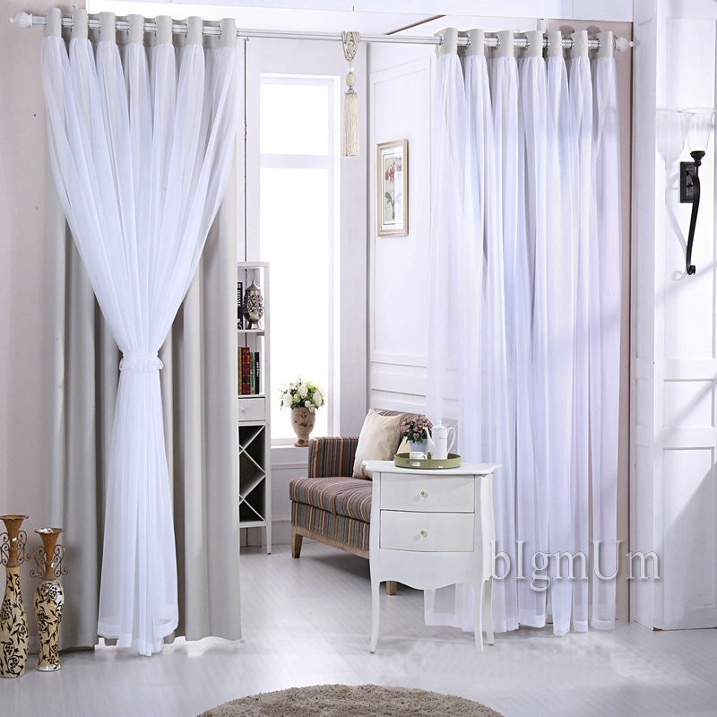 Simple New Arrival Wedding Lace Curtains Solid Blackout princess Curtains Elegant Fairy Curtains Ready Made Custom made Free Shipping in Curtains from Home Contemporary - Style Of ready made curtains New