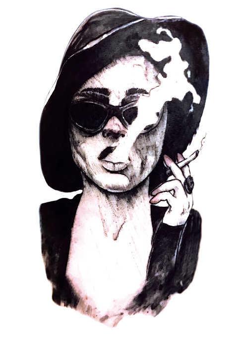 Temporary Tattoo Sticker large size body art cool hat smoking woman water Transfer Fake Tattoo Flash.jpg q50