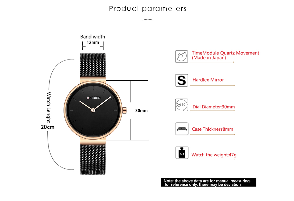 Malha de Aço Inoxidável Relógio de Pulso