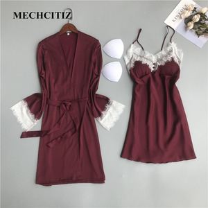 Image 2 - MECHCITIZ silk robe for women sexy summer bathrobe lace nightgown nightwear female sleepwear dress lingerie satin lounge set