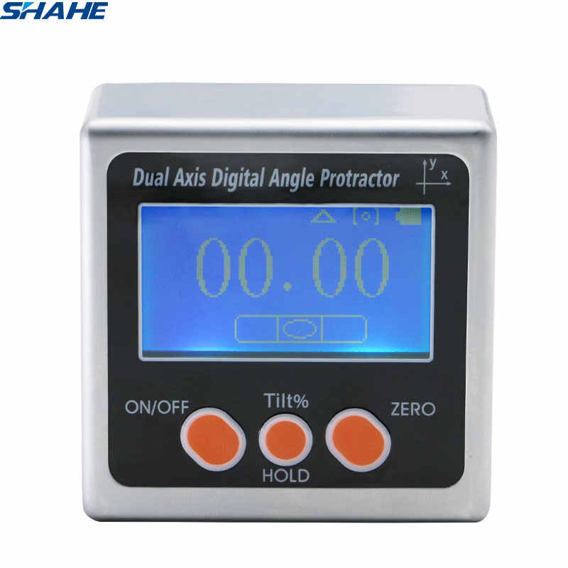 SHAHE New Digital Bevel Box Dual axis Inclinometer With Aluminum Alloy Material Electronic Protractor Inclinometer With backligh