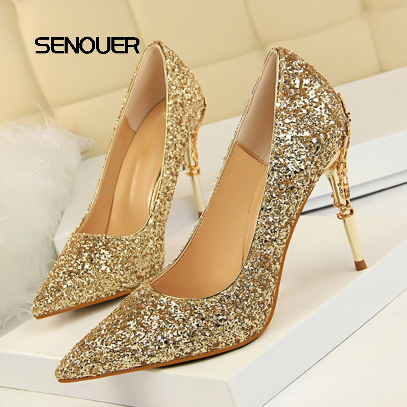 SENOUER Bling Women Pumps 10 Cm Super High Heels thin Pointed toes Sexy Nightclub shoes Women Party shoes Wedding Shoes White