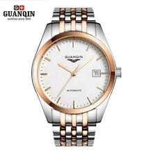 Famoso Reloj de la Marca de lujo GUANQIN Relojes Mecánicos Automáticos de Acero Reloj de Los Hombres A Prueba de agua Para Hombre Relojes de Pulsera Relogio masculino