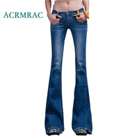 ACRMRAC Women's jeans 2018 Spring and autumn Slim blue Spliced Middle waist Skinny Flare Pants Full Length jeans Women