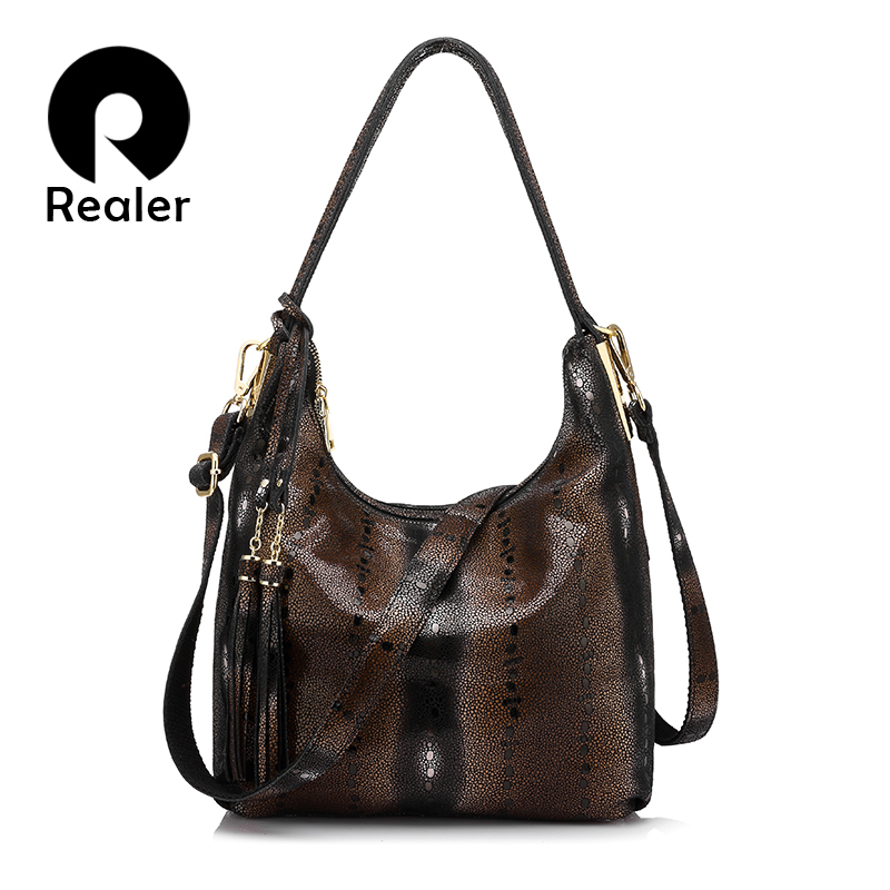 REALER brand women genuine leather shoulder bag female pearl fish pattern tote bag ladies double zippers handbag with tassel realer brand women shoulder bag with