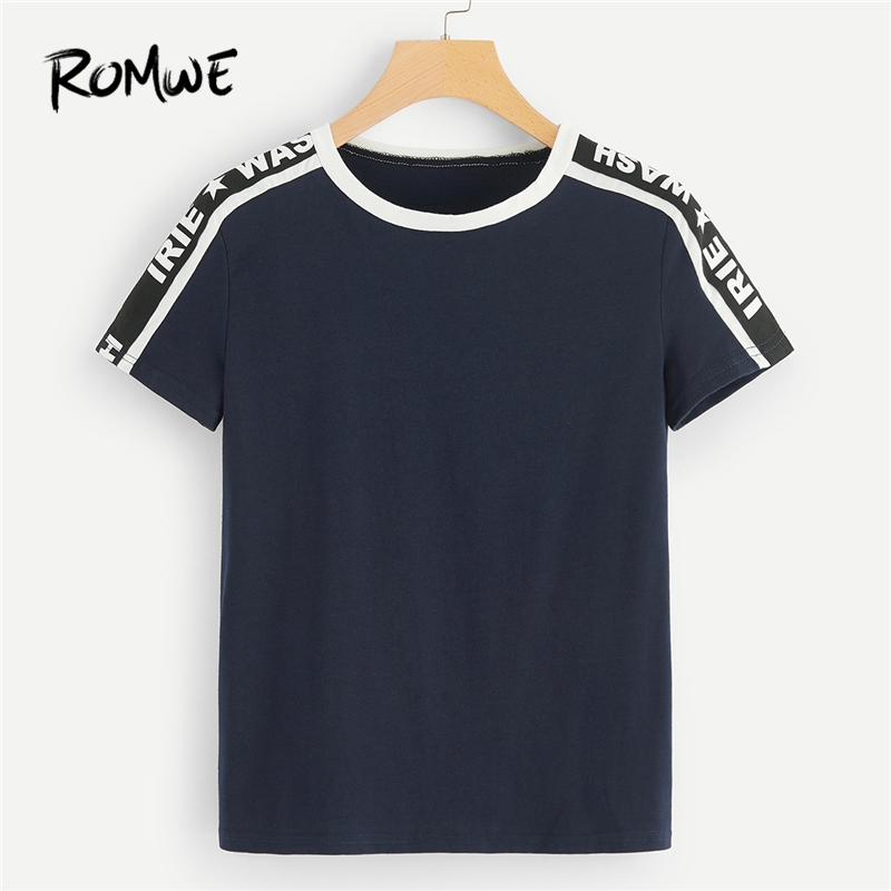 bf36239af4 ROMWE Contrast Letter Taped Side Tee 2019 Navy Casual Summer Streetwear  Women Clothing T-shirt