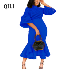 QILI New Arrivals Women Dress Ruffles See Through Striped Half Sleeve Elegant Lady Bodycon Dresses Blue Yellow Black Red