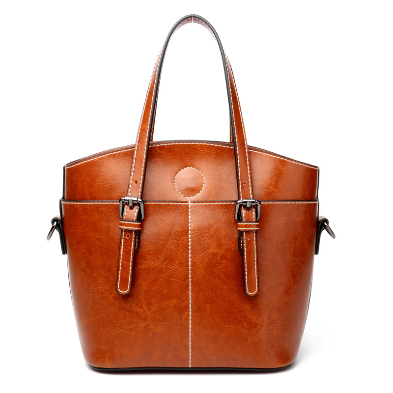 Women's new style cool fashion leather handbag Europe and American style new style wax fashion leather shoulder bag fashion style