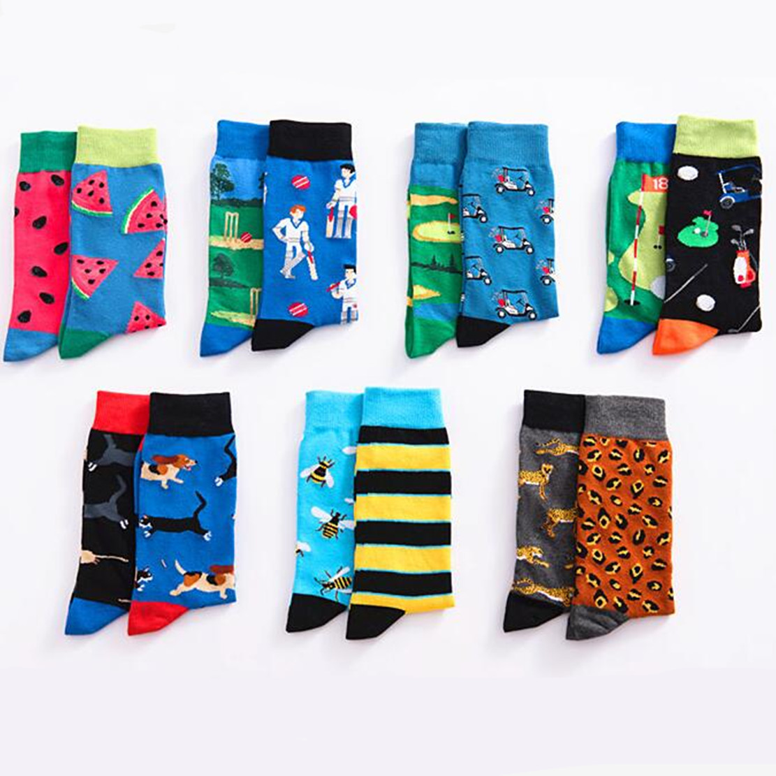 Bee Stripe Printed Socks Personalized Harajuku Compression Men Sock Funny Casual Novelty Sweat Absorbent Breathable Cotton Socks