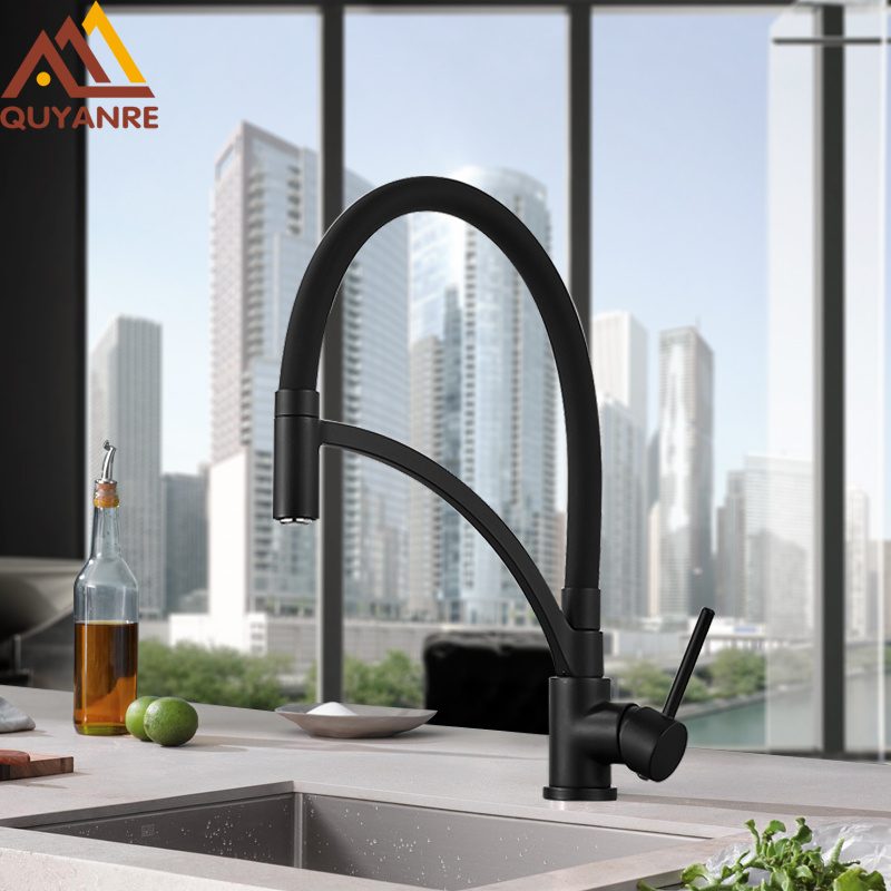 Quyanre Matte Black Mult-color Pull Out Kitchen Faucet Orange Green White Kitchen Mixer 360 Swivel H/C Water Kitchen Sink Mixer