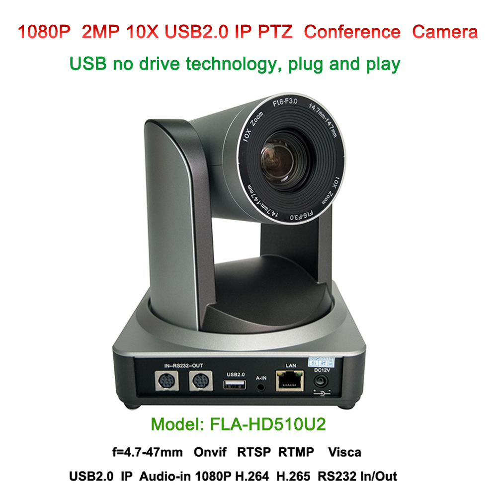 Professional H.265 2MP Full HD Indoor PTZ Camera 10x Optical Zoom USB 2.0  IP Streaming Audio Input With 60.9 degree FOV 416e1d0278e