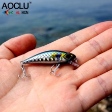 AOCLU wobblers Super Quality 6 Colors 4.5cm 3.0g Hard Bait Minnow Crank Fishing lures Bass Fresh Salt water 14# VMC hooks