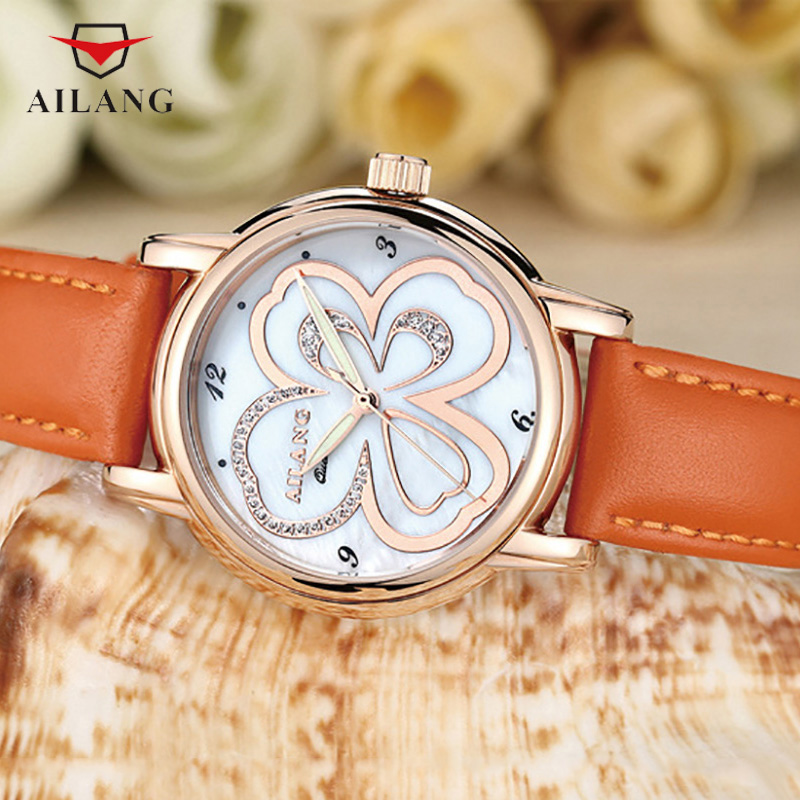 AILANG Lucky Clover Watch Women Floral Watches Quartz Crystals Wrist Watch Real Leather Shell Dial Analog Relojes 3ATM A089