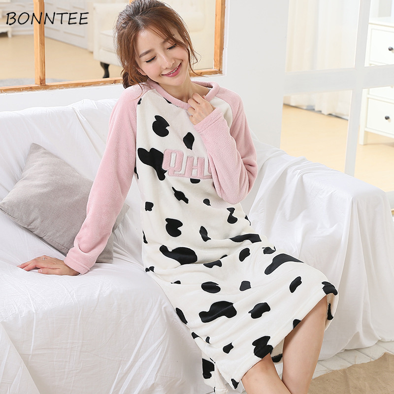 5e1d577009 Detail Feedback Questions about Nightgowns Women Kawaii Patchwork Sleepwear  Warm Flannel Trendy Winter Womens Soft Nightdress Lovely Print Long Sleeve  ...