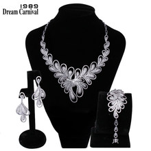 DreamCarnival 1989 New Luxury Jewellery White Cubic Zirconia AAA Quality Wedding Bride 3 pieces Set for Women Marriage B16116(China)