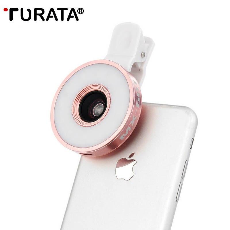Turata 6 в 1 Универсальный комплект телефон объектив светодиодной вспышкой рыбий глаз Широкий формат макрообъектив для iPhone 7 плюс Samsung Galaxy ...