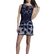 Sexy Sheer Neck Marineblau Spitze Appliques Cocktailkleider Kurz Celebrity Dress 2016 Modest Junior Gradution Sweet Sixteen Kleid