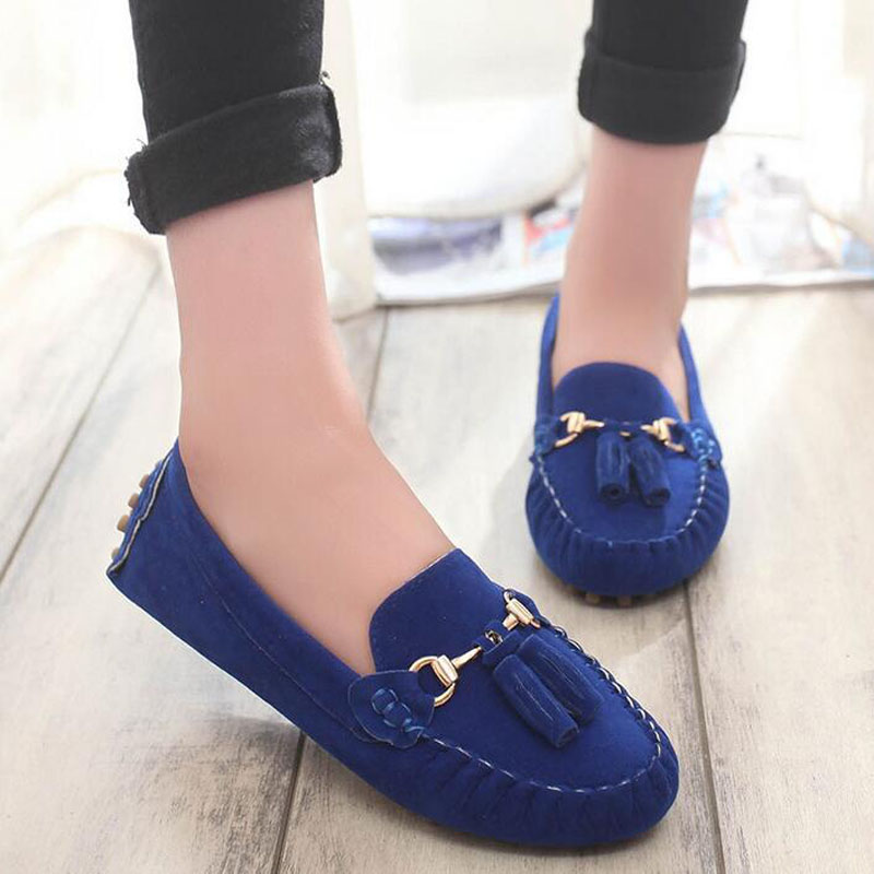 2016 Spring Hot Sale Women Pregnant Casual Nubuck Leather Single Shoes Round Toe Shallow Mouth Flats  Loafers Shoes Size 35-39 e hot sale wholesale 2015 new women fashion leopard flat shallow mouth shoes lady round toe shoes