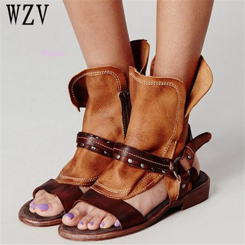 Big Size 43 Fashion cowboy Women Sandals Roman style Cool boot buckles Women Shoes Gladiator Sandals Leather Sandalia Mujer B606