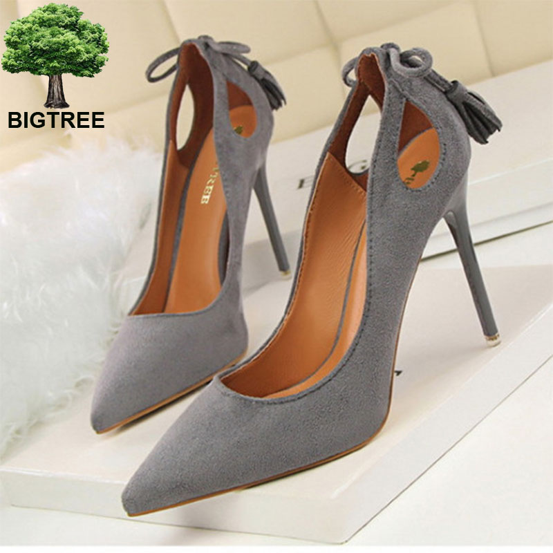 BIGTREE FREE SHIPPING  Autumn Sexy Cut-Outs Bowtie Tassel Women Pumps Fashion Solid Suede Pointed Toe Shallow High Heels Shoes