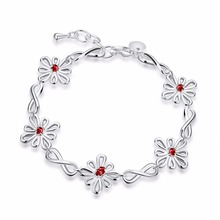 Explosion Models Genuine Crystal Flower Mosaic Red Sweet Female Bracelet 925 Sterling Silve Limited New Free Post Women Wedding
