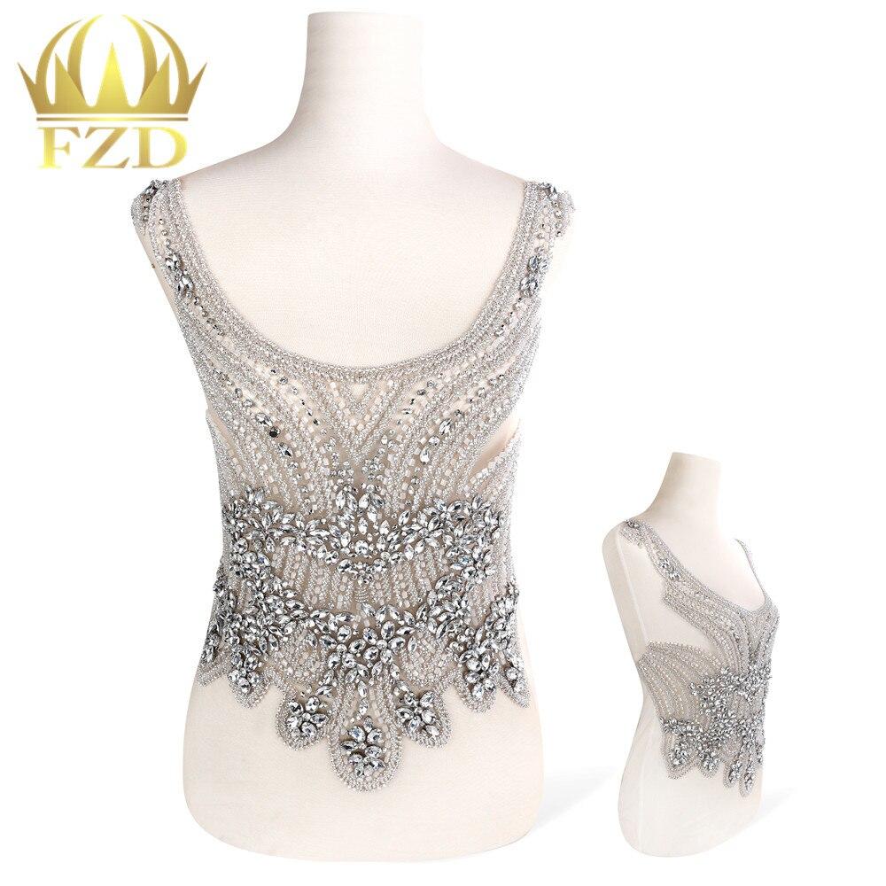 1 3 pieces Combination Handmade Beaded Crystal Rhinestone Patches for Wedding Dress DIY Bridal Waist Decoration