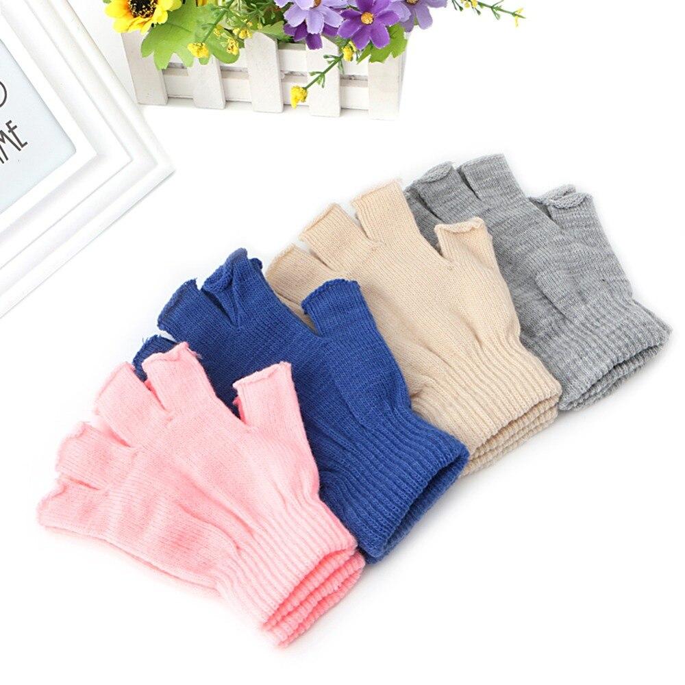 1 Para Stretch Gestrickte Halbe Handschuhe Männer Frauen Fingerlose Winter Wärmer Handschuhe