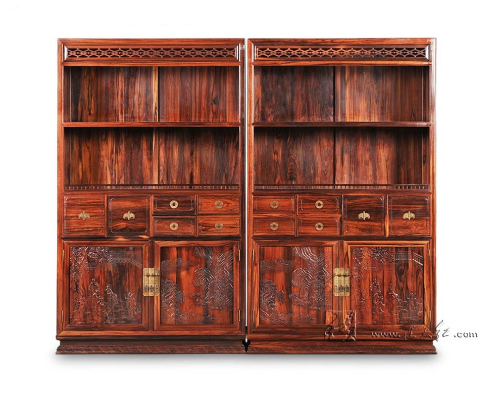 Cupboard In Landscape Painting Antique Solid Wood Bookcase Rosewood Sark With Storage Cabinets Living Room Office Book Shelves
