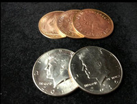 Hopping Half With Expanded Shell Coins English Penny Magic Trick Close Up Fun