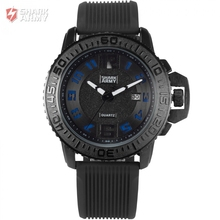 Shark Army Brand Black Blue Auto Date Silicone Strap Watches Male Military Clock Relogio Men Sports Quartz Wrist Watch / SAW182