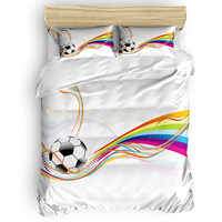 Soccer Curtains Balls Football Design 3 Piece Bedding Sets St. Valentine's Day Election Day Living Room Flat Sheet Microfiber