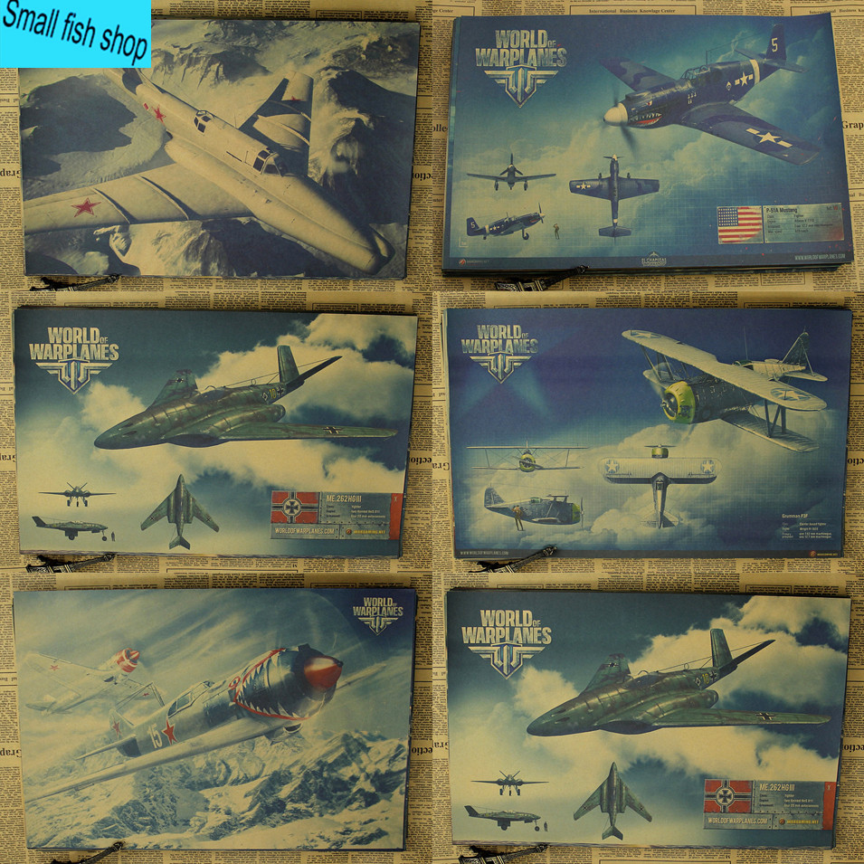 World of Warplanes DogFighter Schietspel Poster Woninginrichting decoratie Kraft Game Poster Tekeningkern Muurstickers