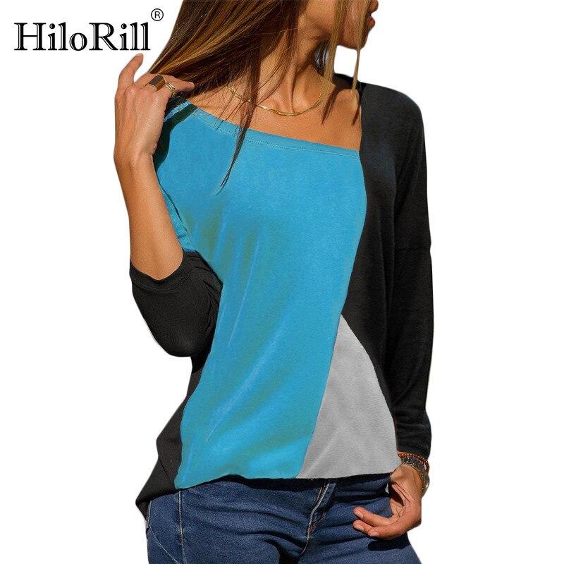 Women Color Block Patchwork Blouse Autumn Long Sleeve O-Neck Casual Shirt Female Elegant Blouse Shirt Tops Blusas Femininas 2019