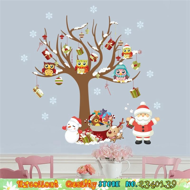 home christmas decoration wall stickers owl tree snowman elk deer santa claus wall art decals diy