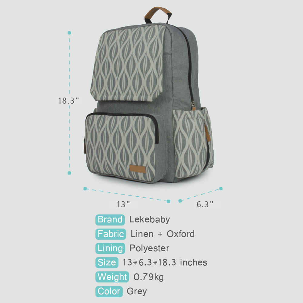 Lekebaby Maternity Nursing Changing Mummy Bag Textile Printing Designer Diaper Bag Large Capacity Dad Backpack for Baby Stroller