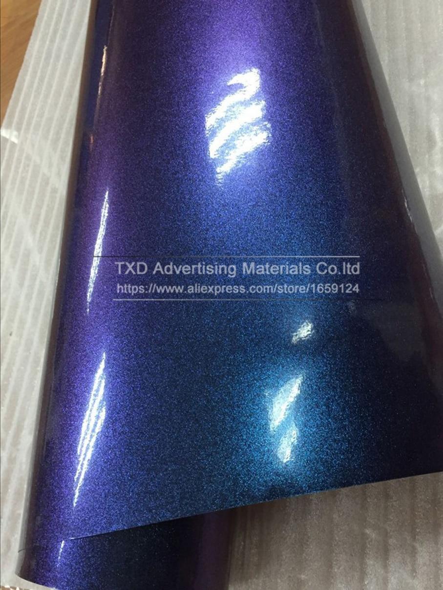 5 м/10 м/15 м/20 м X 152 см/светильник в рулоне с синим до фиолетовым жемчугом глянцевая виниловая пленка с эффектом хамелеона пленка с воздушными пузырьками блестящая автомобильная пленка