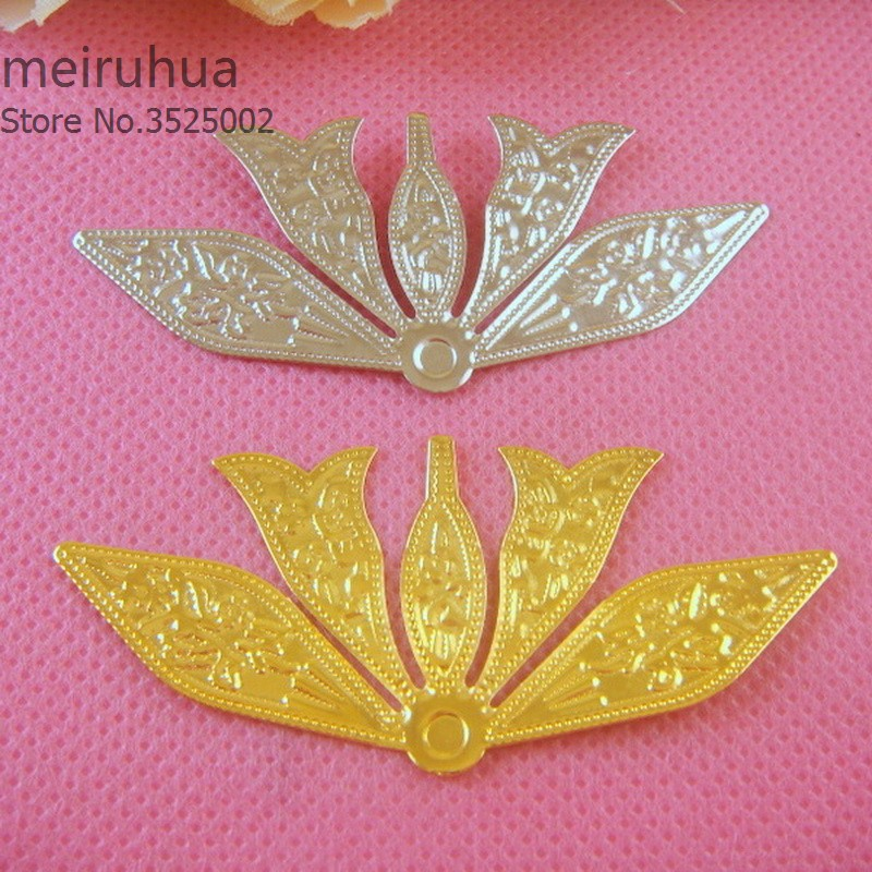 20 pieces / lot 26*59mm Metal Filigree flower Slice Charms base Setting Jewelry DIY Components Findings08226