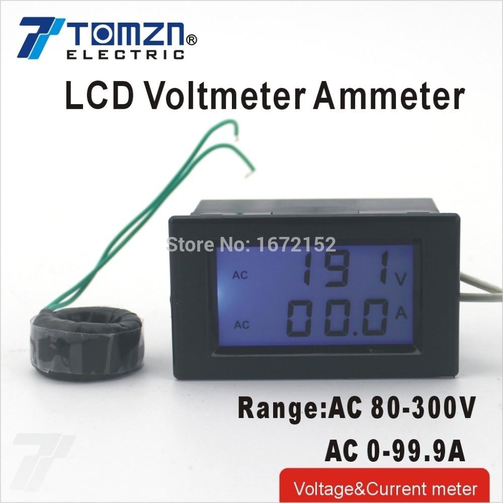 D85 Dual LCD display Voltage and current meter blue backlight panel voltmeter ammeter range AC 80-300V 0-99.9A Black