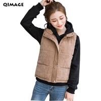 New Women Vest 2018 Fashion Winter Solid Vest Corduroy Fabric Warm Waistcoat Silm Female Cotton Sleeveless Vest Plus Size M XXXL