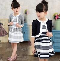 Girl Dress Suit 2016 New Fall Overalls Children S Clothing Baby Cotton Striped Roupa Menina O
