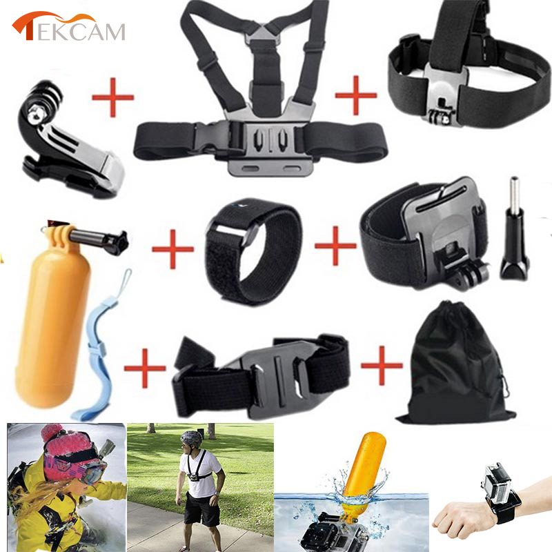 Tekcam for Gopro Accessories Set for Gopro hero 5 hero4 session hero4 3 plus SJ4000 Xiaomi Yi 4k yi 4k plus WIFI Action Camera tekcam for gopro accessories set gopro case bag for gopro hero3 hero 5 4 2 3 sjcam sj4000 sj5000 sj6 sj7 xiaomi yi 4k plus