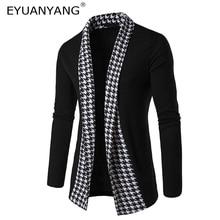 EYUANYANG 2018 Brand Sweater Men Concise V-Neck Sweater Male Houndstooth Slim Mens Cardigan Sweater Coat Man Cardigan Men 2XL