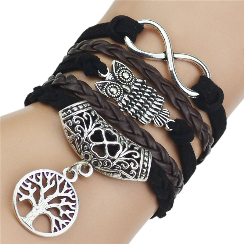 OBSEDE Vintage Retro Tree of life Owl Infinity Leather Bracelet for Women Jewelry Braided Handwoven Wrap Leather Rope Chain 3
