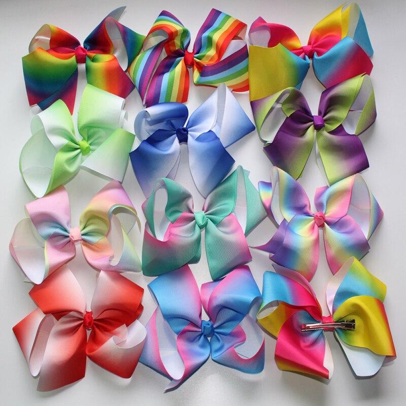 retail Least JOJO 8 grosgrain ribbon hair bows hair clips boutique rainbows bow girls hairbow For Teens Gift 1pcs