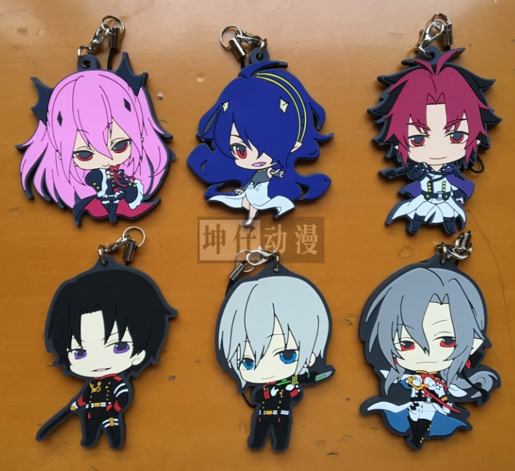 Seraph Of The End Owari No Seraph Anime Yuichiro Hyakuya Hiiragi Shinoa Hiiragi 4th Ver Kawaii Japanese Rubber Keychain